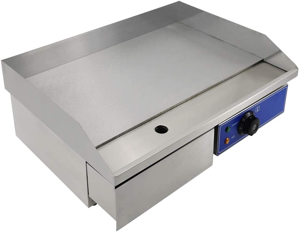 "TAIMIKO Commercial Electric Griddle Flat Top Grill HotPlate Kitchen Grill CounterTop Stainless Steel Thermostatic Control 1500W 22"" (New Model in 2019)"