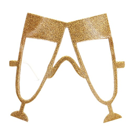 Glass Of Champagne Costume (OULII Champagne Glasses Beer Fest Sunglasses Funny Novelty Oktoberfest Party Favors (Gold))