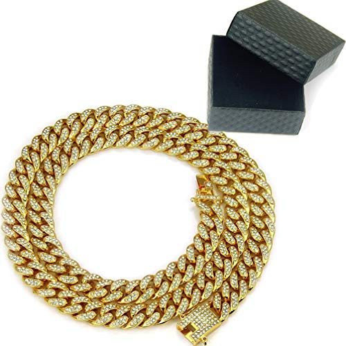 - WANZIJING Man's Necklace, Hip Hop Punk Cuban Chain of Male Jewelry Full of Diamond Necklaces, Gold,24''
