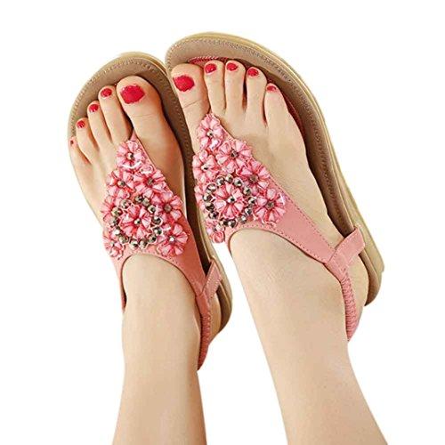 Sandalias para Mujer, RETUROM Nuevas mujeres de cuentas con cuentas moldeadas Clip Toe Flats bohemio Herringbone sandalias o zapatos de playa Rosa
