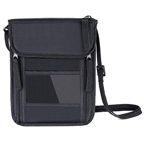 FREETOO Neck Wallet Passport Holder RFID Blocking Concealed Travel Pouch/Neck Stash Anti-Theft Hidden Wallet-Black