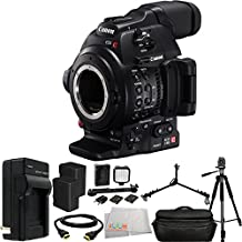 Canon C100 Mark II Cinema EOS Camera Bundle with 2 Replacement BP-970 Batteries + AC/DC Rapid Home & Travel Charger + Full Size Tripod + Tripod Dolly + LED Light Kit + HDMI Cable + Microfiber Cleaning Cloth - International Version (No Warranty)