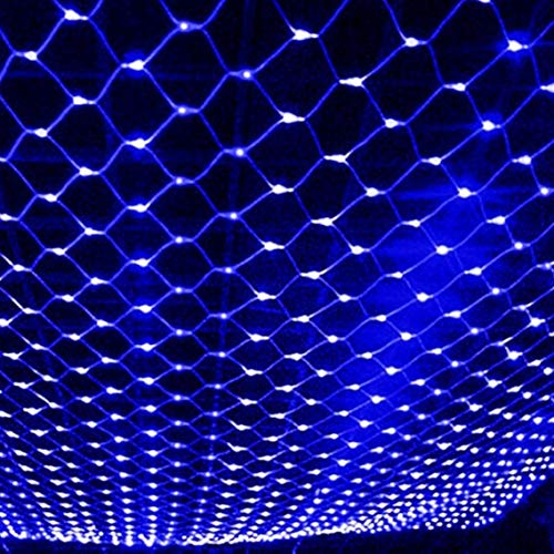Docheer LED Net Mesh String Fairy Light 204 LEDs, 6.56 Ft x 9.84 Ft,8 Modes, Blue Outdoor Transparency String Lights Waterproof Christmas Decorative Lights for Christmas Tree, Holiday, Party