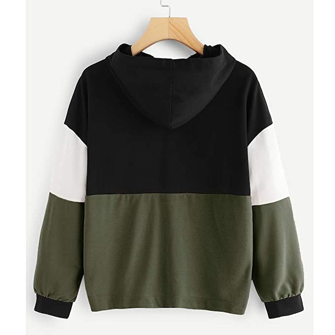 Womens Women Zipper Hoodie Jumper Long Sleeve Color Block Sweatshirt Pullover Tops Cardigan (Army Green, S) - - Amazon.com