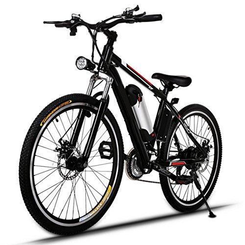 🥇 AMDirect Bicicleta de Montaña Eléctrica de 26 Pulgadas E-Bike Sistema de Transmisión de 21 Velocidades con Linterna con Batería de Litio Desmontable 250W 36V