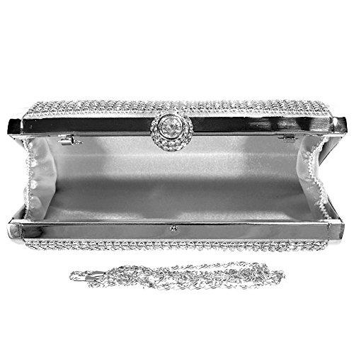 Purse Evening Ladies Fashion Clutch Silver Bag Party Hand Chain Bag Hand Women Wocharm Glitter Diamante Prom wqf8tp0