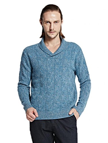 - Miuk 2017 New Men's 100% Cashmere Sweaters Overlapped Collar Pullovers Blue Grey L