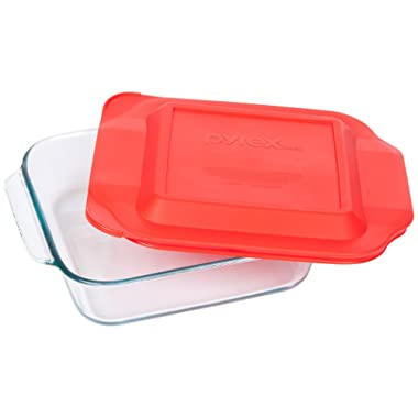 Pyrex Basics 8 Square with red cover