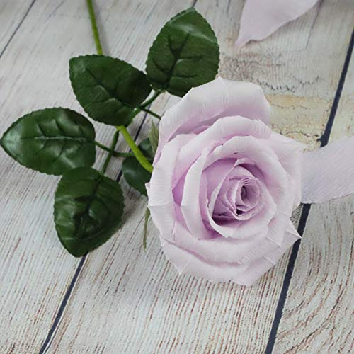 Elegant Purple Lavender Paper Rose for your mystical love, Handmade Art Paper Flower to melt her heart, Ideal for Home Office Decoration Wedding Bouquet, Single Long -