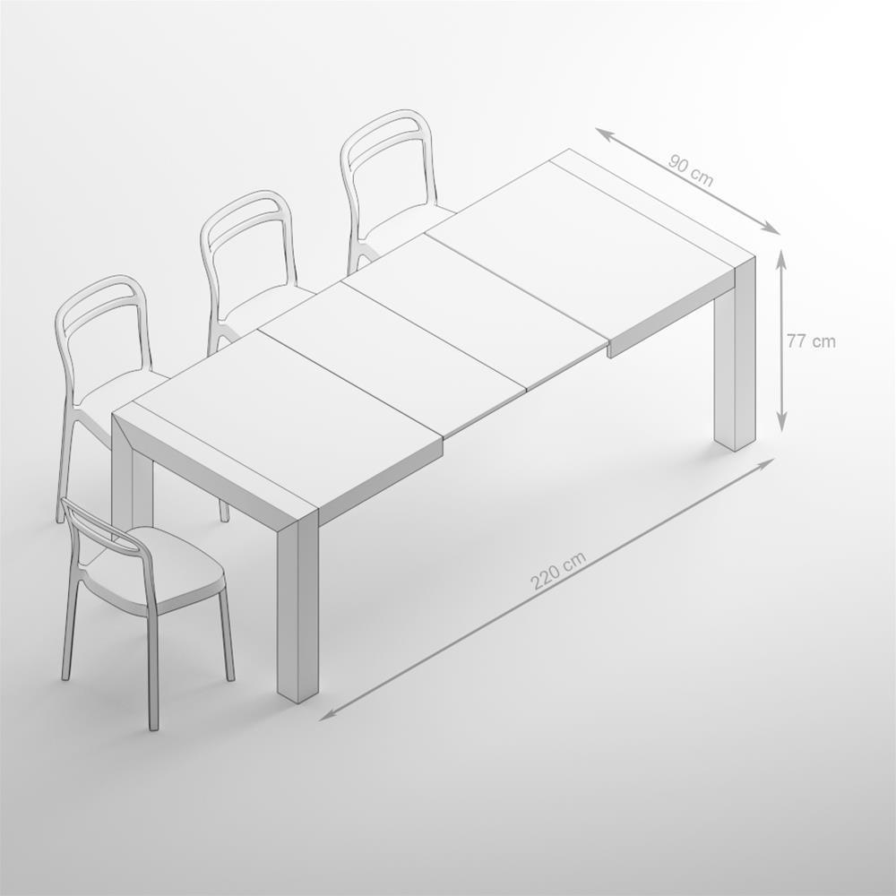 M/élamin/é Iacopo Mobili Fiver 140 x 90 x 77 cm Made in Italy Fr/êne Blanc Table Extensible Cuisine