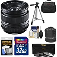 Fujifilm 14mm f/2.8 XF R Lens with 32GB Card + 3 UV/CPL/ND8 Filters + Case + Tripod Kit for X-A2, X-E2, X-E2s, X-M1, X-T1, X-T10, X-Pro2 Cameras