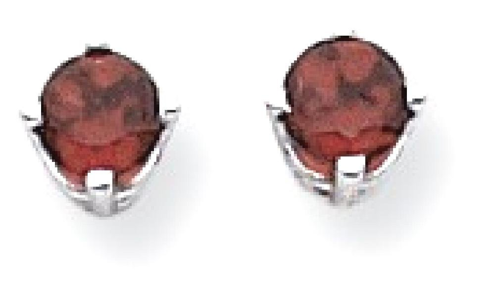 ICE CARATS 14k White Gold 4mm Red Garnet Post Stud Ball Button Earrings Gemstone Fine Jewelry Gift For Women Heart