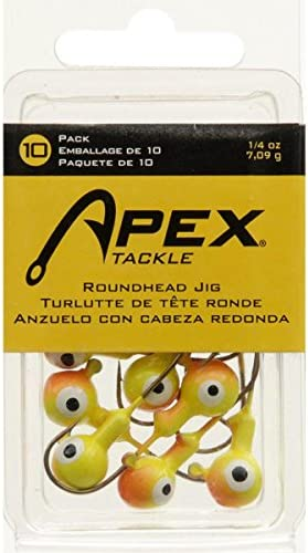 Yellow RH1-4-4 4 Pack  Lot of 2 Apex Tackle Fishing Round Head Jigheads 1oz