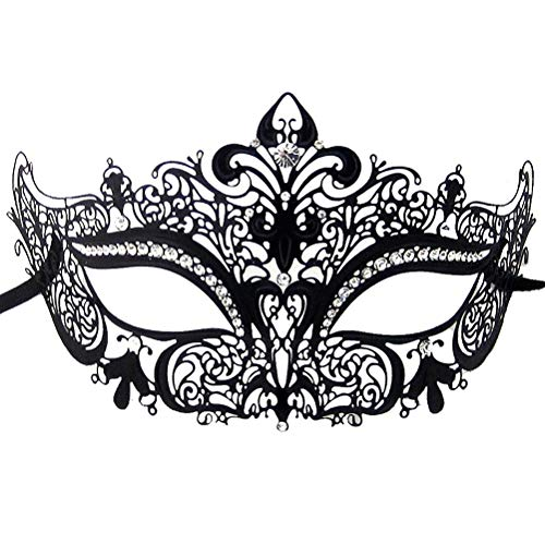 (Xvevina Masquerade Mask for Women Shiny Rhinestone Venetian Party Prom Ball Metal)