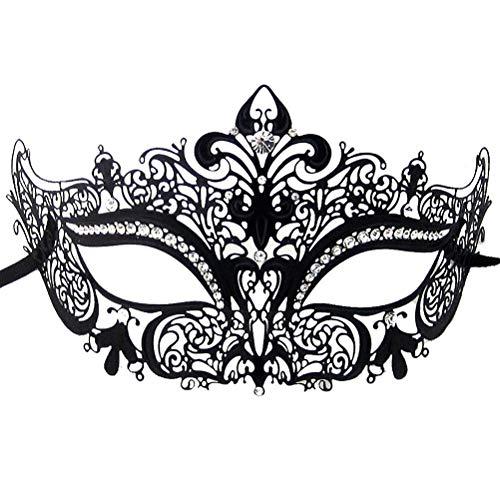 Xvevina Masquerade Mask for Women Shiny Rhinestone Venetian Party Prom Ball Metal Mask