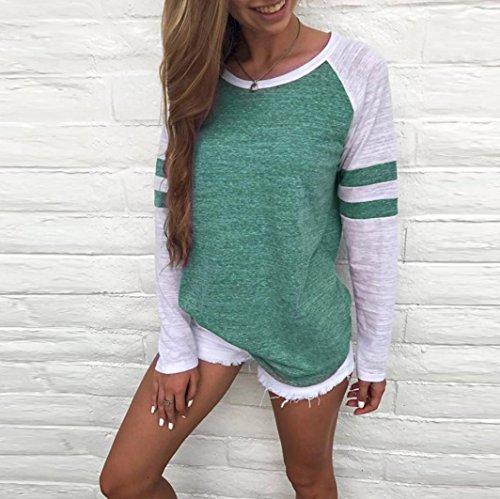 ADESHOP Casual Blouse Femme Mode Rond Sexy Vert Hauts Col Automne Tunique Top Blouse Chic Manche Hiver Longue TTq7rWvH