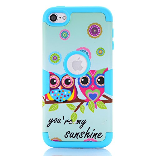 iPod Touch 6 Case,iPod Touch 5 Case,SAVYOU Sunshine Cute Owl Pattern Dual Layer Hybrid Slim Shockproof Hard Case Cover for Apple iPod Touch 5 6th (Hybrid Shell Ipod)