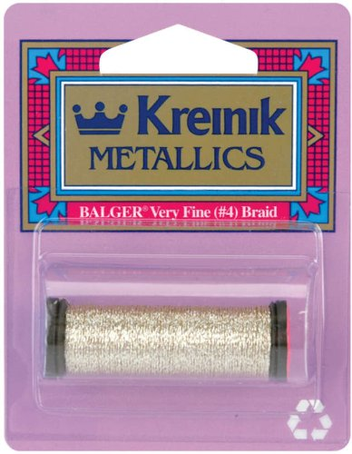 Kreinik No.4 Very Fine Metallic 11m Corded Craft Braid, 12-Yard, Vatican Gold
