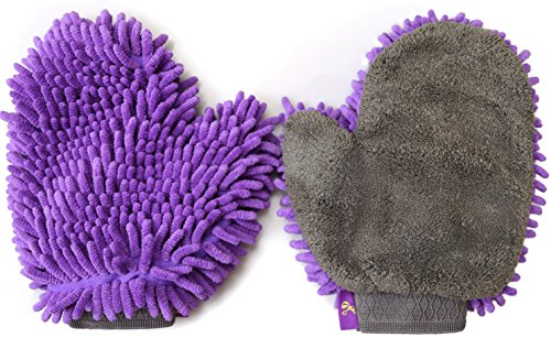 2 Pack Pet Drying Towel Mitt by Hertzko - Ultra Absorbent - Great for Drying Dog or Cat Fur after Bath