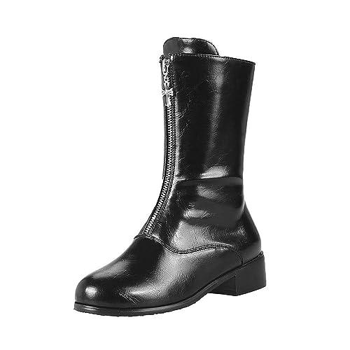 Botines Martin Zapatos De Cremallera OHQ Mujeres Ocio Plataforma TacóN Grueso Antideslizante Punta Redonda Martin Boots