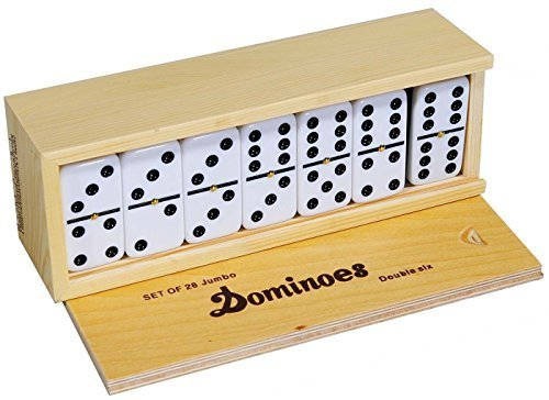 (Dominoes Double 6, Tournament Size, Two Toned with Spinner (center) Rivets, in wooden case)