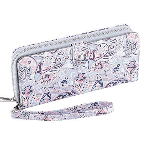 (Women's Bifold Wallet Large Clutch Cellphone Purse Ladies Multi-Card Slot Wallet Passport Holder with Wristlet Strap)