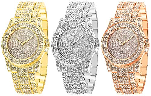 3PC wSelio Fashion Luxury Ladies Watch,Iced Out Watch with Quartz Movement Crystal Rhinestone Diamond Watches for Women,Stainless Steel Dial and Band Wristwatch Full Diamonds (Multicolor)
