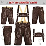 Authentic German Bavarian Oktoberfest Trachten Men Wear Short Lederhosen Chocolate (USA 40, Dark Brown)