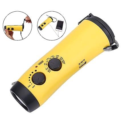 AimdonR MuiltiFunction Emergency Power - Linterna de 5 LED con Radio Am/FM para Camping