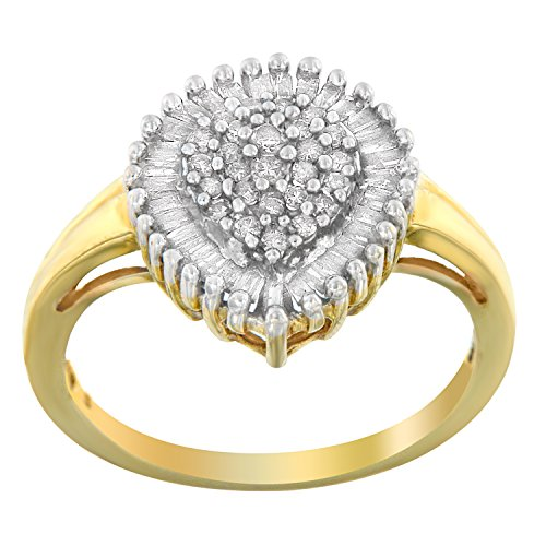 10K Yellow Gold Round and Baguette Diamond Ring (1/2 cttw, K-L Color, I2-I3 Clarity) (Yellow Gold Baguette Ring)