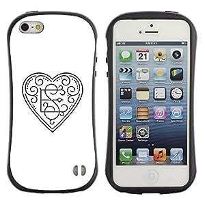 Fuerte Suave TPU GEL Caso Carcasa de Protección Funda para Apple Iphone 5 / 5S / Business Style Initials E loves S heart white floral
