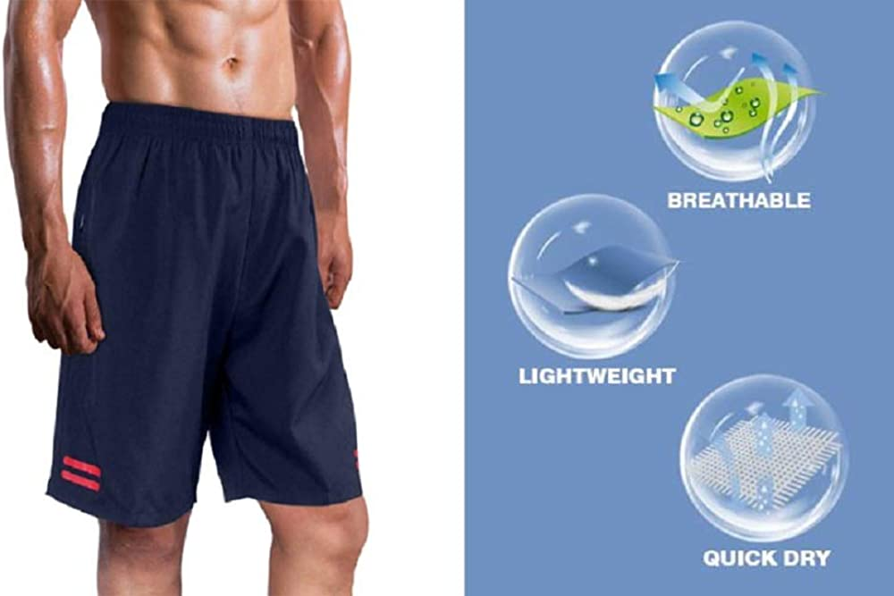 UDAREIT Mens Workout Running Athletic Shorts 7 with Zipper Pocket Quick Dry