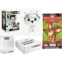 Funko Pop! LA Comic Con Rick & Morty Snowball Flocked, Limited Edition Exclusive. Iron Man 3 Marvel Cards Pack & Concierge Collectors Bundle