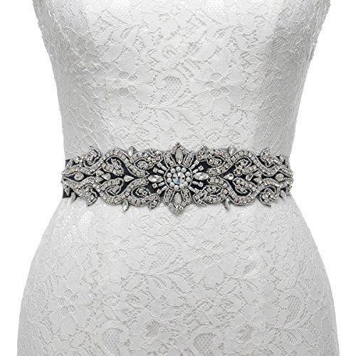 [Remedios Gorgeous Pearl and Rhinestone Sunflower Detailing Wedding Sash Belt Bridal Accessories,Black] (Black Beaded Belt)