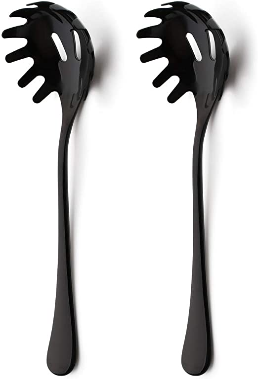 Pasta Spaghetti Server Spoon Fork Scooper Kitchen Tool Utensil Noodle Claw Black