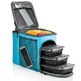 Image of HemingWeigh Insulated Lunch Bag – Durable Lunch Box with Drink Cooler Compartment. Detachable Shoulder Strap + 3 Plastic Food Storage Containers + Ice Pack Included. (Blue)