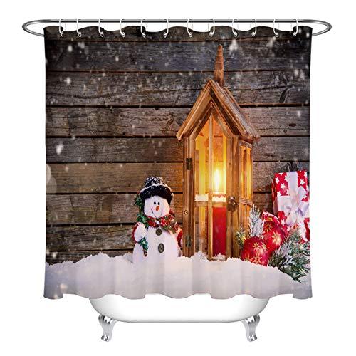 Rustic Snowman - LB Cute Snowman Snow Rustic Wood Cabin Background Ball Ornaments Shower Curtains for Bathroom, Country Farmhouse Christmas Themed Fabric Curtain Decor, 70x70 Inch