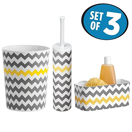 Mdesign Modern Plastic Bathroom Storage And Cleaning Accessory Set Includes Small Round Wastebasket Suction Shower Basket Toilet Bowl Brush And Holder Chevron Pattern Set Of 3 Gray Yellow