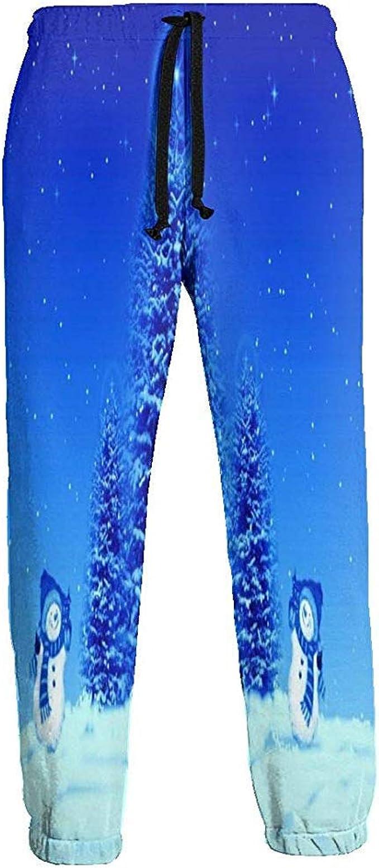 Emild Pantalones de chándal para Hombre Muñeco de Nieve Azul ...
