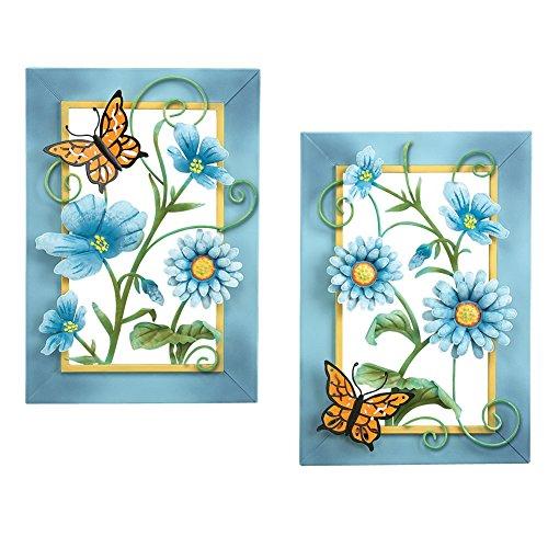 Blue Floral Butterfly Wall Art Set - aluminum metal wall art