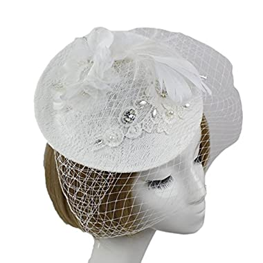 Vimans Women's White Feather Veil Hats Hair Clip Headwear Wedding Fascinators