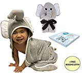 Baby Bath Towels with Hood Elephant for Kids with Toddler Washcloth Set - Large Soft Organic Bamboo