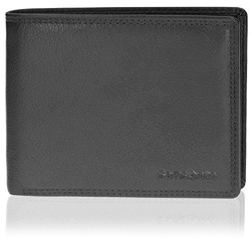 Samsonite Herren Geldbörse Querformat 78019 mit Klappfach und Reißverschlussfach Leder 12,5 cm black