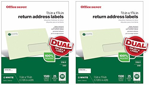 Office Depot (TM) Return Address Labels for Laser and Inkjet Printers, White, 2/3