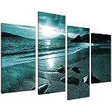 Large Teal Landscape Canvas Wall Art Pictures XL 130cm Prints Set 4079
