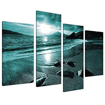 Merveilleux Large Teal Landscape Canvas Wall Art Pictures XL 130cm Prints Set 4079