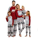 SESY Family Christmas Pajamas Mama/Little/Papa Bear Top & Fair Isle Bottoms,Grey Bear Womens,Medium