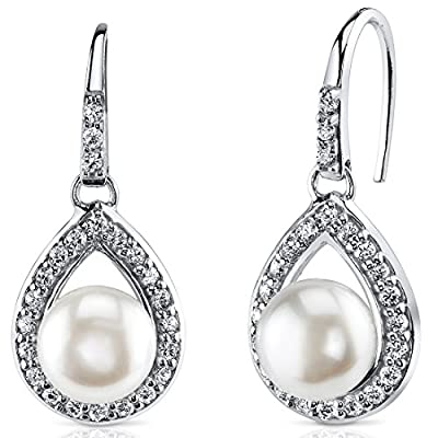 Halo Style 8.5mm Freshwater Cultured White Pearl Earrings in Sterling Silver