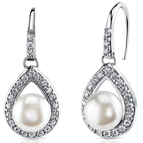 Halo Style 8.5mm Freshwater Cultured Pearl Earrings Sterling Silver