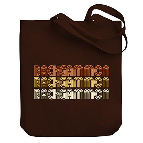 Teeburon Backgammon RETRO COLOR Canvas Tote Bag ()